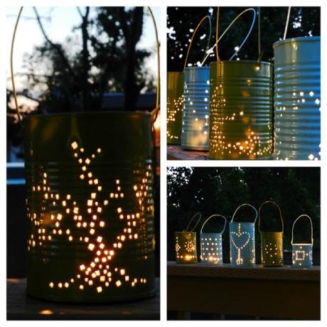 lit lanterns